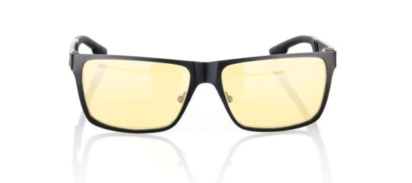 Gunnar Optiks VIN-00101 Vinyl Full Rim Ergonomic Advanced Computer Glasses with Amber Lens Tint, Onyx Frame Finish